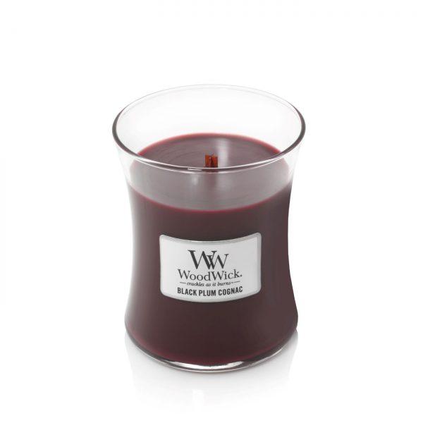 [Woodwick] Bougie Moyenne Black Plum Cognac 275 G
