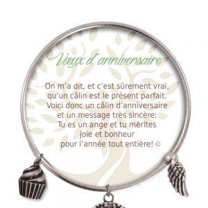 [Clock It To Ya] Bracelet De Charme Voeux D'anniversaire Argent