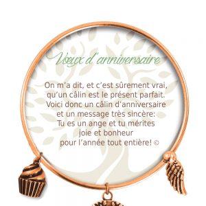 [Clock It To Ya] Bracelet De Charme Voeux D'anniversaire Cuivre