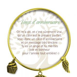 [Clock It To Ya] Bracelet De Charme Voeux D'anniversaire Or