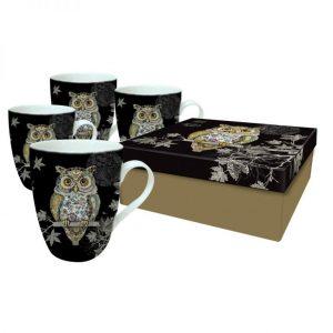 [Incognito] Set De 4 Tasses En Porcelaine Hiboux