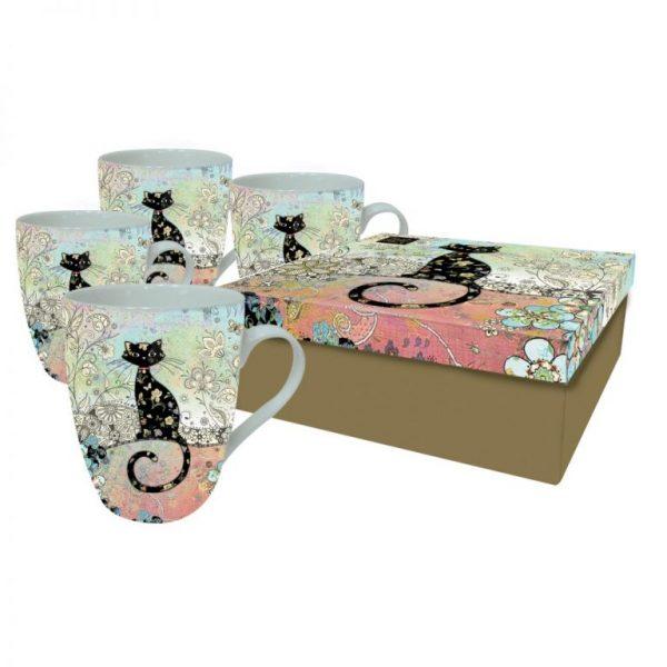 [Incognito] Set De 4 Tasses En Porcelaine Chat