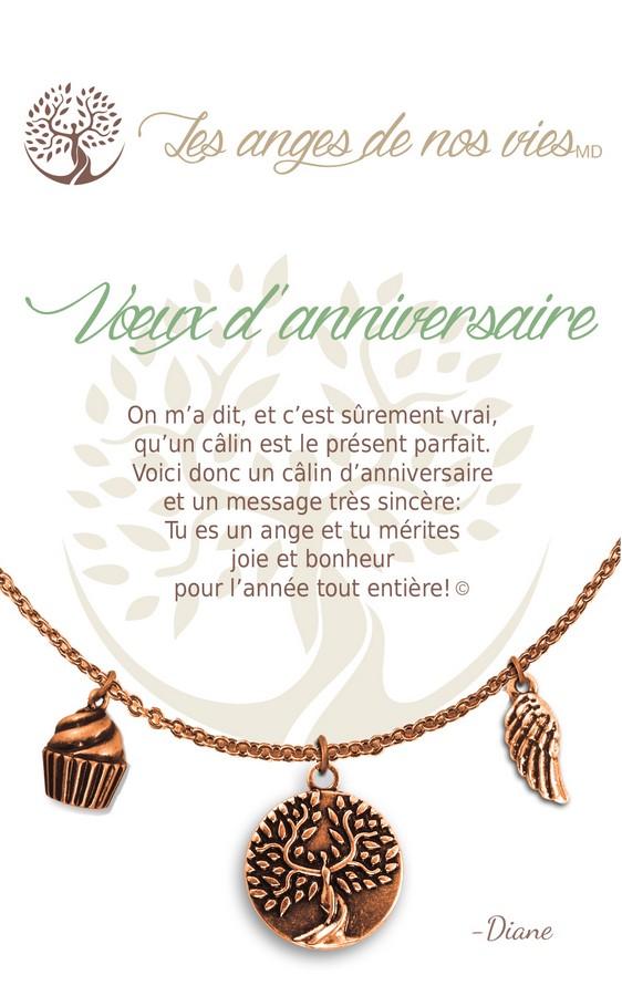 [Clock It To Ya] Collier De Charme - Voeux D'anniversaire Cuivre