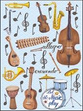 [Incognito] Mini Carte De Souhaits Instruments De Musique 5-278