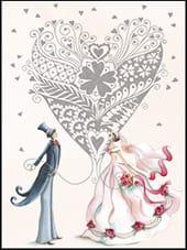 [Incognito] Mini Carte De Souhaits Coeur Et Mariage 5-291