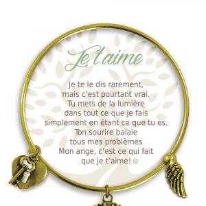 [Clock It To Ya] Bracelet De Charme Je T`aime Or